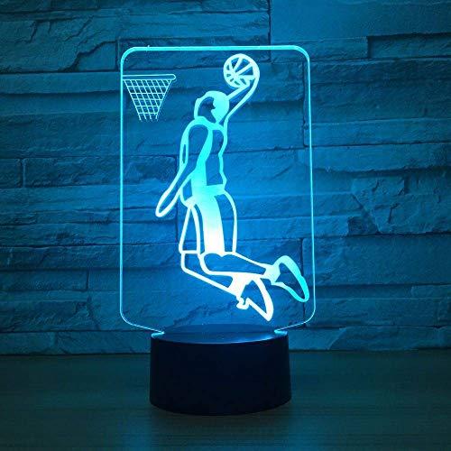 WANGNANA 3D Nachtlicht Slam Dunk Spielen Basketball 3D Led Lampe Beleuchtung 7 Farbwechsel Sport 3D Nachtlicht Hause Raumdekoration Beste Freunde Kind Geschenk (Slam Dunk Spiel Basketball)