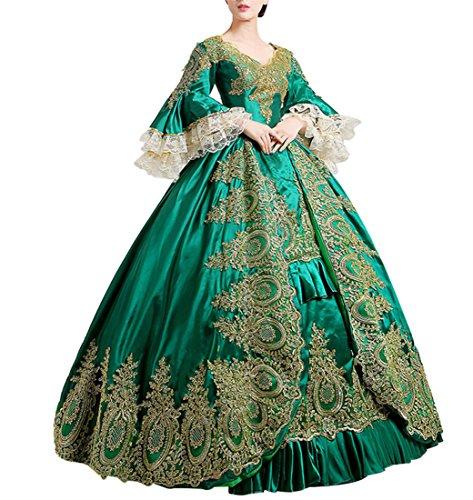 Altmodische Kostüm Kleid - Nuoqi reg;Damen Satin Gothic Victorian Prinzessin Kleid Halloween Cosplay Kostüm grün (36, CC2367A)