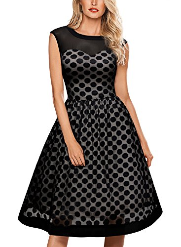Miusol Knielang Abendkleid Retro 50er Rockabilly kleid Cocktail Ballkleid Schwarz - 5