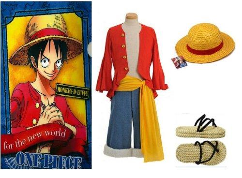 One Piece Monkey D. Ruffy Cosplay, 2 Jahre später Monkey D Luffy Kostüm Kombination, Größe XXL:(178-182cm,80-90 (Monkey D Luffy Kostüm)
