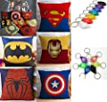 Super Heroes AVENGERS Decor Cushion Covers Pillows Hardwearing Hessian Linen Blend IRONMAN, SPIDERMAN, SUPERMAN, CAPTAIN AMERICA & BATMAN 45 X 45cm plus FREE LED TORCH KEYRING - cheap UK light store.