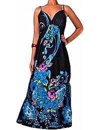 Robe Longue Femme Angela Rope - Noir & Bleu, 36-38