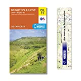Ordnance Survey Pack - Explorer Map 122 ~ Brighton & Hove plus scale ruler