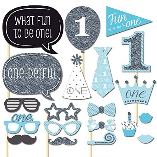 Photo Booth Props Baby Dusche Photobooth Prop Set Geburtstag Party Decor - 20 Stück (Blau) ()