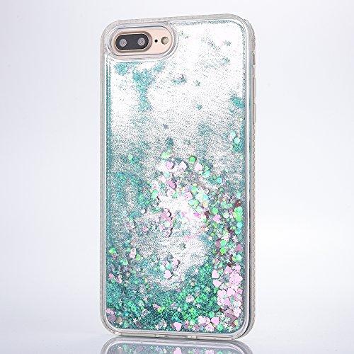 iPhone 7/iPhone 8 Coque Ensemble avec du Diamant, Voguecase TPU avec Sables Mouvants Interne, Etui Silicone Souple, Légère / Ajustement Parfait Coque Shell Housse Cover pour Apple iPhone 7/iPhone 8 4. Amour/Vert