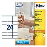 Avery 3475-Etichette multifunzione, con fogli A4, 70 x 36 mm, etichette adesive, 24 etichette Per foglio, 100 fogli, colore: bianco