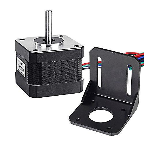 Beauty Star Nema 17 Schrittmotor Stepping Motor Bipolar 12V / 0,4A 26Ncm (36.8oz.in) Haltemoment 4-lead W/1 m Pin Kabel + NEMA 17 Montagehalterung für 3D Drucker/CNC (12 Standard-motor)