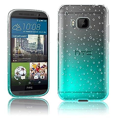 Für HTC One M9 Case Cover, Vandot 0.5 mm Ultra Thin TPU Sllikon Hülle mit Kratzfeste Stoßdämpfende Regentropfen Transparent Schutzhülle für HTC One M9 Handy Soft Schale Tasche - Raindrop