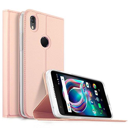 Alcatel Idol A7 XL Hülle, KuGi Alcatel Idol A7 XL Flip Bookstyle Kompletter Schutz Mit Magnetverschluss und Standfunktion Tasche Etui Cover Case Schutzhülle für Alcatel Idol A7 XL Smartphone (Rose Gold)