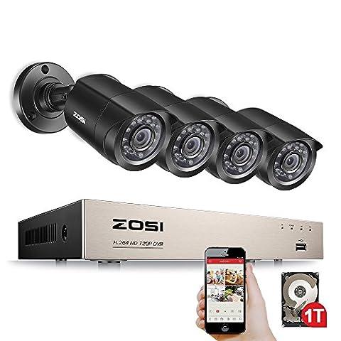 ZOSI 8CH 720P DVR Enregistreur Lecteur et 4pcs Caméra Surveillance 1500TVL Vision Nocturne 24 Leds IR Objectif 3,6mm Caméra Intérieure & Extérieure Jour & Nuit, Système CCTV 1To HDD