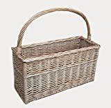 Wicker Handled Magazine Rack / Basket or Flask Basket.