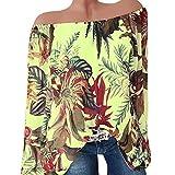Yesmile Damen Blusen 2018 Damen Schulterfrei Langarm Blumen Mode Blouse T Shirt Bluse Tank Tops