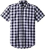 JEETOO Classics Herren Slim Kariert Kurzarm Hemd Freizeit Hemd Baumwolle Button-Down Modern Hemd, (X-Large, Weiß und Blau)