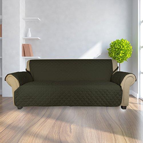Kinlo copripoltrona 3-posti fodera per divano 167 x 165 cm copridivano imbottito copertura trapuntato per gli animali domestici protezione anti-graffio antifouling - verde scuro