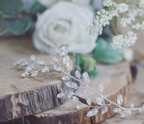 Aukmla Krone für Brautjungfern und Blumenmädchen, Hochzeit, mit Swarovskikristallen, Haarschmuck, funkelnd, Haarkranz - 2