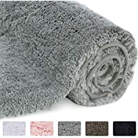 Lifewit Bath Mat Grey, Microfiber Soft Shag Super Water Absorbent Non-Slip Rubber Bathroom Rug, Thick, Machine Washable, 80 x 50 x 4cm