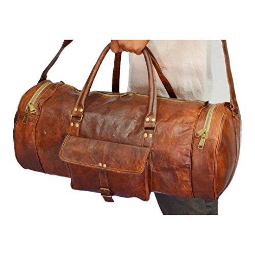 Mad Over Shopping, Vintage handgemachte echtes Leder Schulter Gepäck Reise Duffle Gym Bag (Mode-reise-gepäck-kollektion)