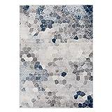 mynes Home Teppich Kurzflor Heatset Modern Blau Mosaik Muster Wohnzimmer Pflegeleicht NEU (160x230cm)