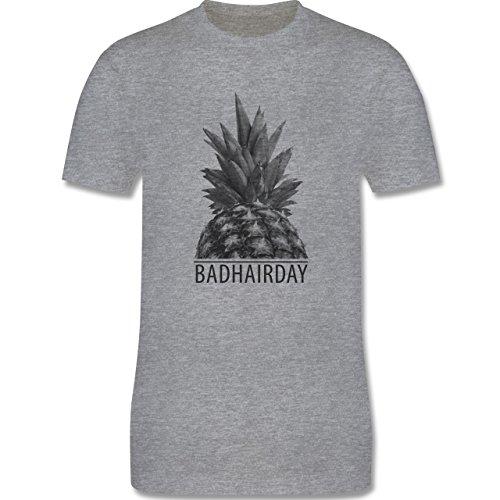 Statement Shirts - Badhairday - Ananas - Herren Premium T-Shirt Grau Meliert