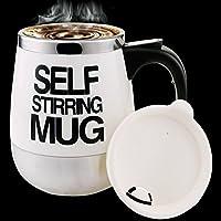 Tazza di caffè 450ml Acciaio pigro normale che mescola elettrico tazza auto di miscelazione tazza dell'acqua regalo Travel Mug Bianca - La Mia Grande Piatto Bianco