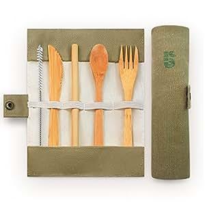 Bambaw Set Posate di bambù | posate in legno | Kit coperti ecologico | Coltello, Forchetta, Cucchiaio e paille| coperti di viaggio | posate Campeggio con Borsa | da 20cm