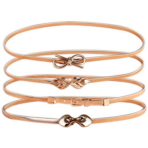 Mmbox 4 cinture da donna elasticizzate con fibbia metallo colore oro