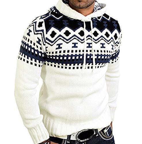 Cloom Mode Sweatshirt Pullover Herren Winterpullover Kapuzenpullover Strickpullover für Männer Herren Strickjacke Pullover Hoodie Jacke Sweatjacke Sweater Pulli Winterjacke Kapuzenjacke (M, Weiß)