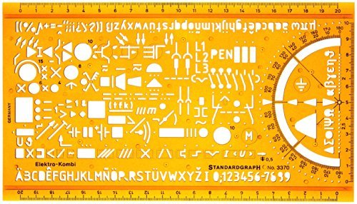 Schablone Zeichenschablone Technisches Zeichnen - Elektro Symbole Elektrotechnik und Elektronik Elektriker Hausinstallation Schaltzeichen (Symbol-schablone)