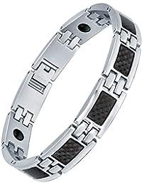 Stainless Steel Men's Black Carbon Fiber and Magnetic Polished Link Bracelet 21cm - G7038tj