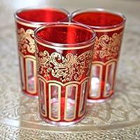 Juego de seis vasos de té marroquí - rojo