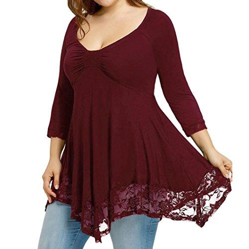 Damen Frauen Elegant Trägerlos Spitze Bluse Große Größen Schulterfreie Sweatshirt Plus Size T-Shirt Langarmshirts Top (Rot 8 (Große Damen Spitze), XXXXX-Large) (Billig Plus Size)