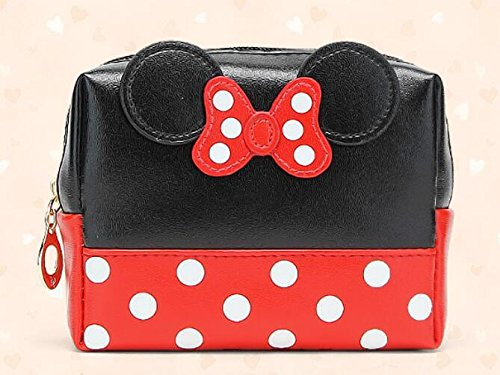 Europea e American Fashion Mickey Bow Cosmetic Bag messenger Bag , black spell red