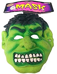 Childs Incredible Hulk Latex Mask Green Moster Fancy Dress