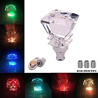 AutoBoy Super Cool Crystal Diamond Shape Touch Activated Multi-color LED Light Illuminated Gear Stick Shift Shifter Knob Lever Cover Universal Fit For Car Manual Transmission and Automatic Transmission Without Lock Button
