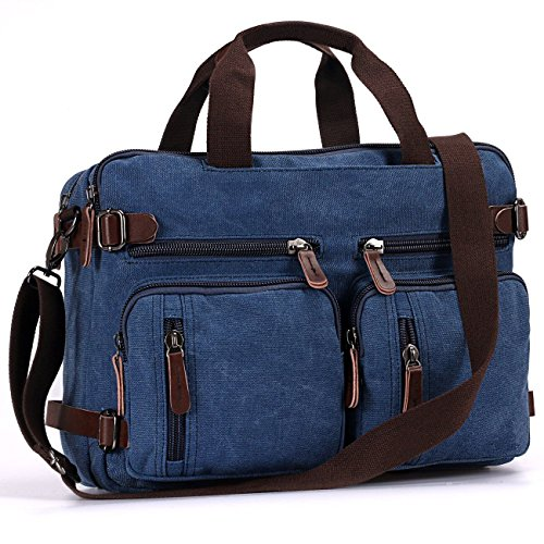 Imagen de baosha hb 22 vintage lienzo bolso de mano hombres del maletín  convertible bolsa de ordenador portátil  de viaje senderismo  marrón café 38.5 x 28.5 x 13 cm azul  alternativa