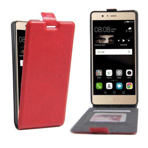 jbTec® Flip Case Handy-Hülle #X03 zu Huawei P-Serie - Handytasche Schutz Cover, Farbe:Rot, Modell:Huawei P9 Lite/Dual SIM