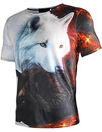 Camiseta Hombre,ZARLLE Camisetas Verano De PatróN De Lobo 3D De Manga Corta Con Cuello Redondo Hombre Blusa De Moda Camisetas Originales
