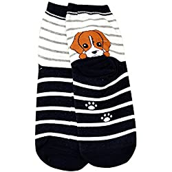 zolimx De animales 3D dibujos animados de las mujeres calcetines de algodón de la impresión (Talla única, marrón)