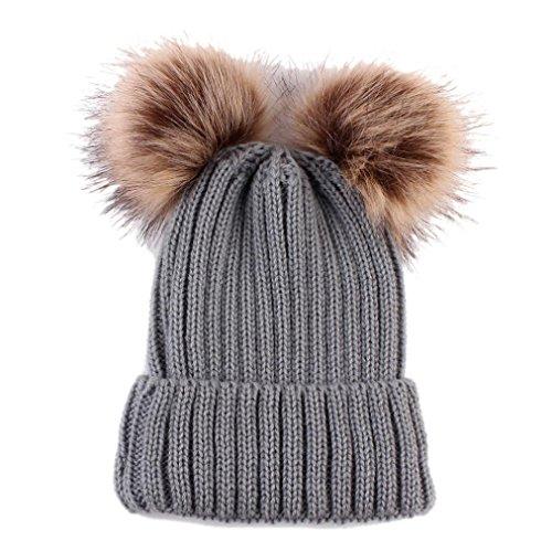 XXYsm Unisex Baby Mütze Beanie Bommel Warme Winter Strickmütze Gestrickte Hut Stricken Einfarbig Kappe Grau