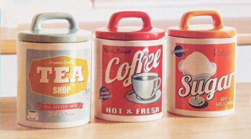 Retro Set 0f 3 Classic 50's Style Tea, Coffee & Sugar Ceramic Jars by Vintage Home (Keramik Cannister-set)