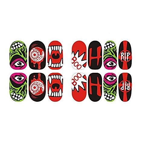 (Qiusa Halloween Schädel Knochen leuchtende Nail Art Sticker Wasserzeichen Tattoos Nail Art Tipps (Farbe : C))
