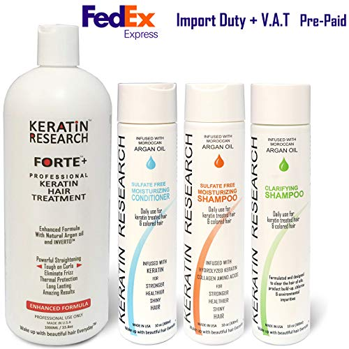 Keratin Forte Keratin Brazilian Keratin Hair Blowout Treatment Extra Strength Enhanced Formula 4 Bottles 1000ml Kit By Keratin Research Queratina Keratina Brasilera Tratamiento Forte