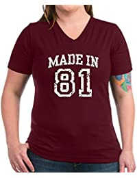 CafePress - Made In 81 - Womens Cotton V-Neck T-shirt