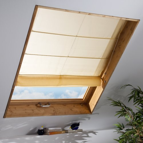 Liedeco Dachfenster-Raffrollo | B 100 x H 170 cm | lichtdurchlässig | gelb