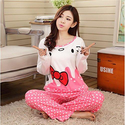 MH-RITA Cartoon Frauen Schlafanzüge Sets 2016 Thin Herbst & Winter Langarm Nachthemd Mädchen Schlafanzüge Sets für Hello Kitty Style Home Kleidung, Zi Kt Bai, M