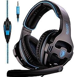 Sades SA810 Micro Casque PS4 Gaming, Audio Filaire avec Basses Profondes, Ecouteur de 3.5mm Jack Basse Stéréo LED Lumière avec Contrôle Volume, Bien Anti-bruit,Compatible pour PC,XBOX ONE,Mac,Laptop