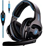 SADES Newly SA810 Over Ear Stereo Bass Gaming Headset Headphones with Noise Isolation Microphone for New Xbox One PC PS4 Laptop Phone(Black)