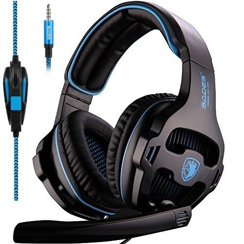 [l'ultima versione cuffie gaming per ps4] sades sa810 cuffie da gioco con microfono stereo bass regolatore di volume per ps4 pc xbox one mac ipad ipod iphone (blu/nero)