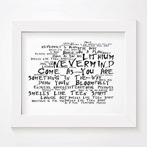 'Noir Paranoiac` Poster Affiche d'art - NIRVANA - Nevermind - Edition signée et numérotée limitée typographie non encadré 20 x 25 cm la musique album mur art haute qualité d'impression - Song lyrics music poster