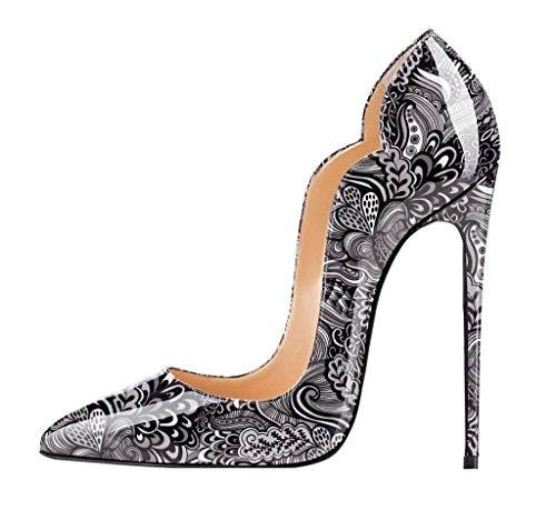 EDEFS Damen Pumps,Lack High Heels,Stiletto Bohemien Stil Damenschuhe,Cut-outs Mehrfarbig Pumps Schwarz